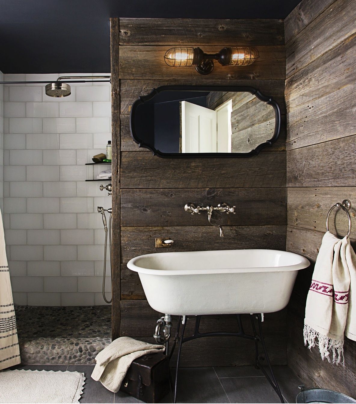 country bathroom designs 2013. A Rustic, Country Bathroom With Barn Wood Walls - House Beautiful September 2013 Designs O