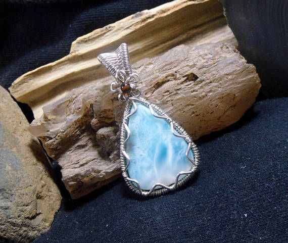Light Blue Larimar Wire Wrapped Stone Silver Pendant   Jewelry, all ...