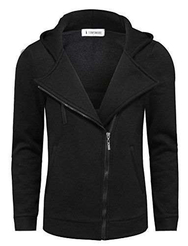 348ac72b19 Tom's Ware Mens Trendy Asymmetrical Zip Hoodie Jacket TWHD1012-BLACK-US M