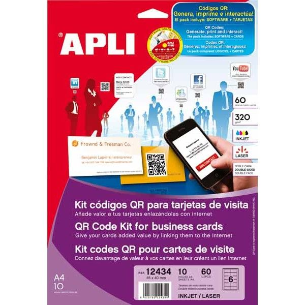Comprar Kit códigos QR para tarjetas de visita-Tarjetas con adhesivo doble cara 320g. #kits #codigo #QR #tatrjetas #visita #adhesivo