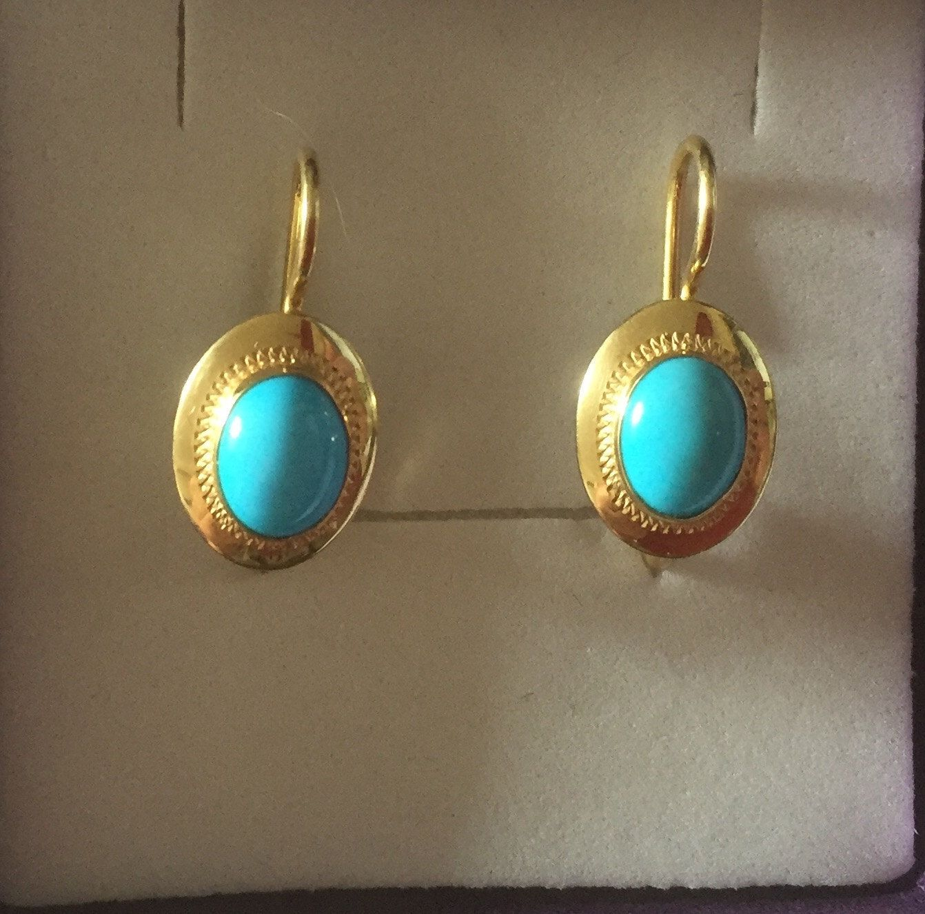 18ct Yellow Gold And Turquoise Drop Earrings