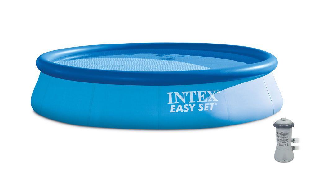 Intex 13 X 32 Easy Set Above Ground Swimming Pool Kit 530 Gph Filter Pump Swimming Pool Kits Above Ground Swimming Pools Pool Kits