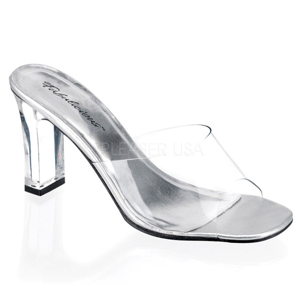 316ca3ddaa82 ROMANCE-301 Transparent Sexy Shoes with 3 Inch Square Heel Slide Slip on  Shoes