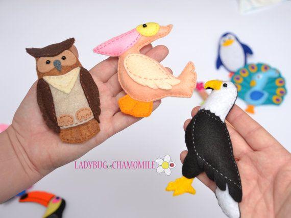 Birds Felt Magnets Price Per 1 Item Make Your Own Set Flamingo Eagle Parrot Owl Pelican Toucan Pea