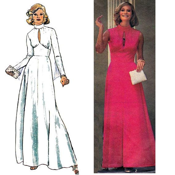 1970s Designer Fit And Flare Maxi Dress By