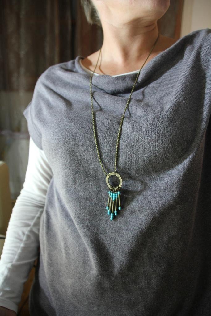 Sautoir / Collier long, bronze et turquoise, chaine fine, anneau plat, breloques : Collier par perlicotiperlicoton