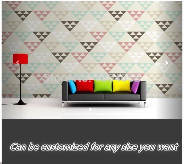 Free shipping custom large living room sofa setting wall mural wallpaper Geometric Triangles within Triangles Mural