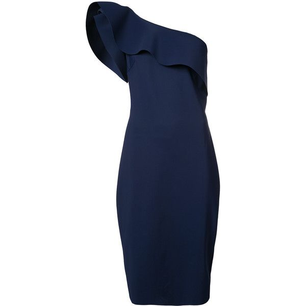 Chiara Boni La Petite Robe ruffled asymmetric dress ($1,281) ❤ liked on Polyvore featuring dresses, blue, lycra dress, la petite robe di chiara boni, flutter-sleeve dresses, flouncy dress and flounce dress