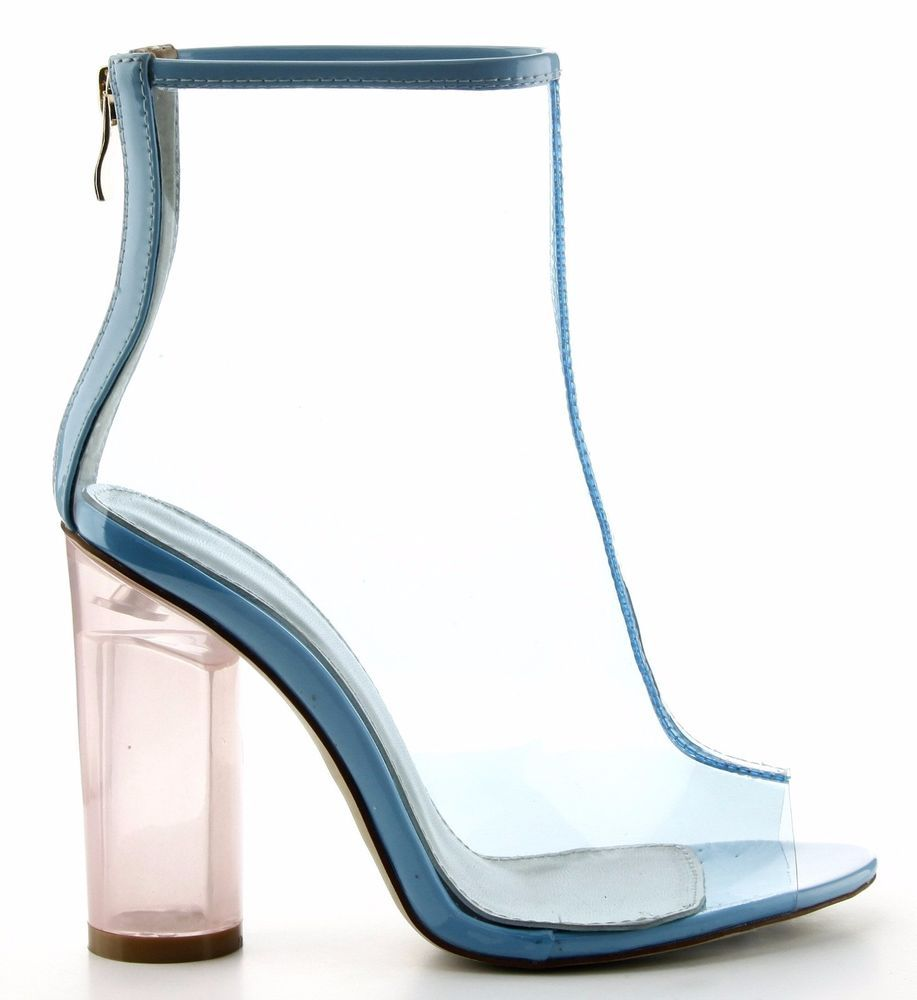d3255ec9a04 Benny-1 Open Toe Block Chunky Clear Perspex Heel Ankle Boot Bootie Shoe  Blue