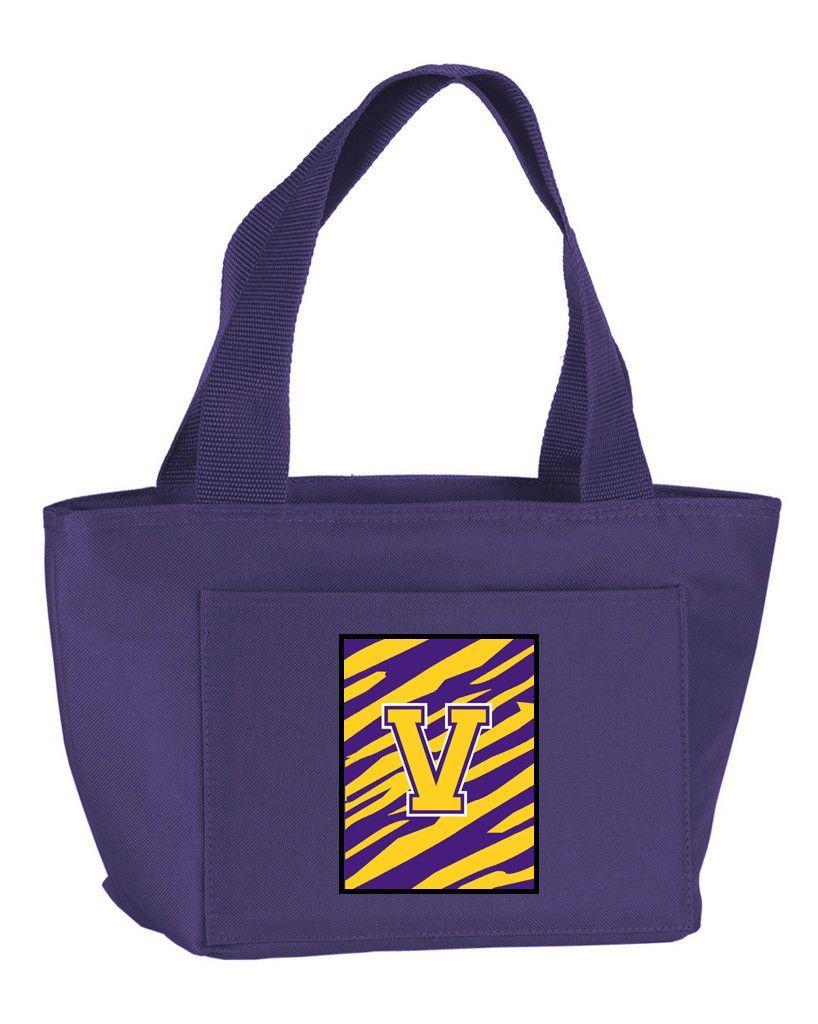Letter V Monogram - Tiger Stripe - Purple Gold Lunch Bag or Doggie Bag CJ1022-V-PR-8808