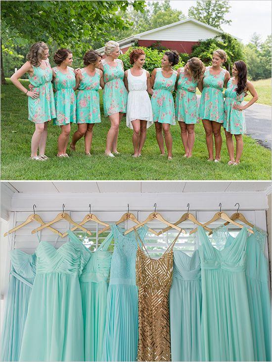 Mint and gold bridesmaid dresses weddingchicks for Mint and gold wedding dress