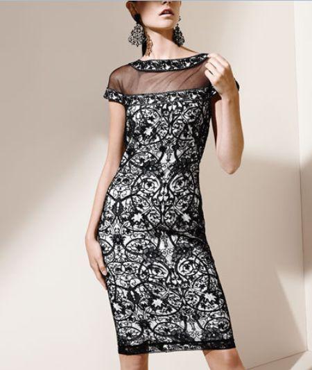 Tadashi cap-sleeve lace-bodice dress up