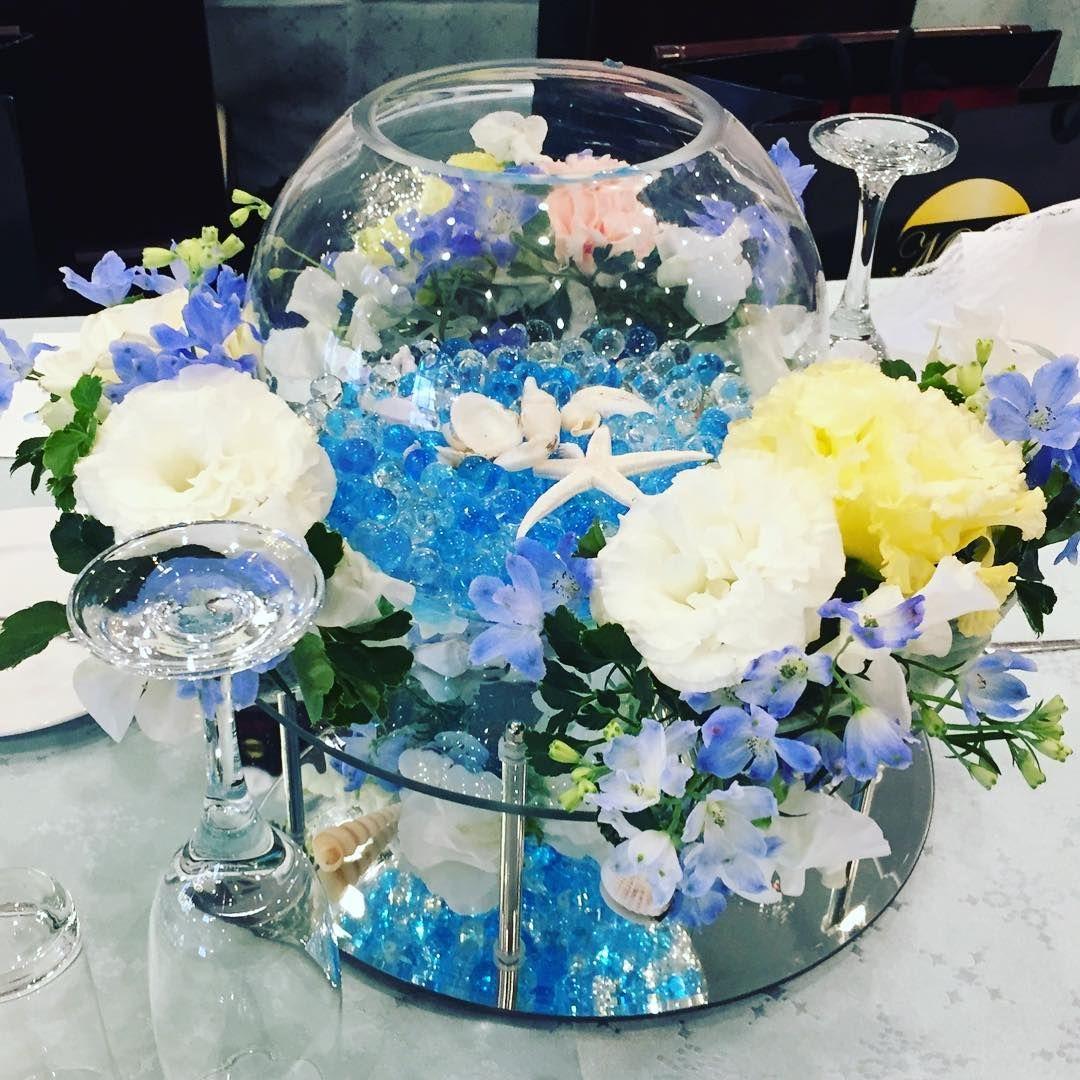 ガラスボールを使った結婚式ゲストテーブル装花7選