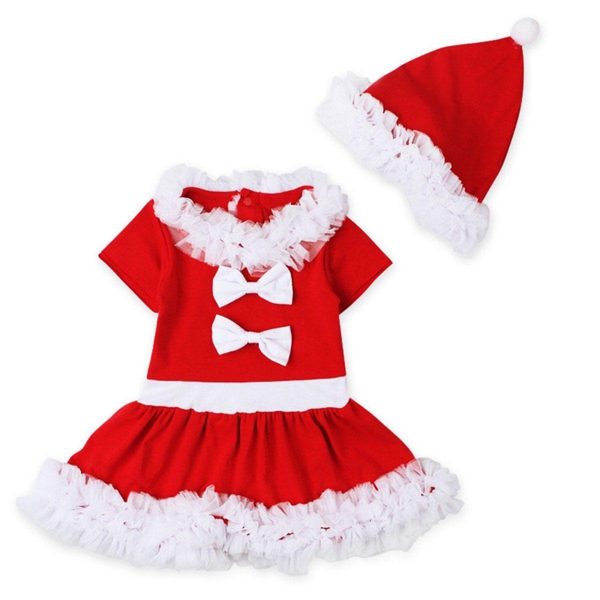 Baby Girls Summer Dress Tunic 2017 Christmas Claus Santa Dress + Hat ...