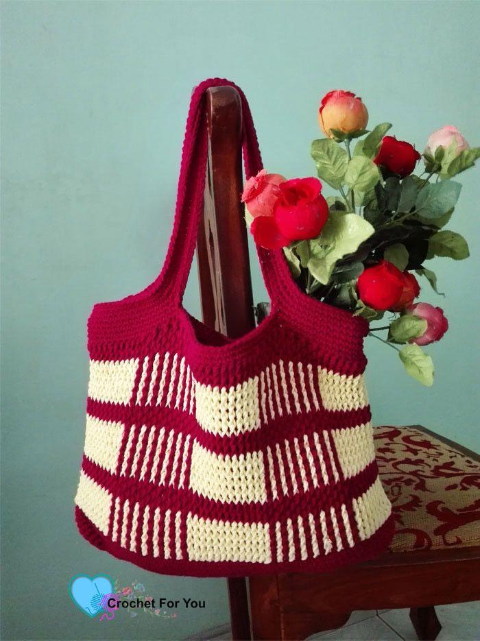 Crochet Uptown Plaid Tote Bag Free Pattern | Free pattern, Tote bag ...
