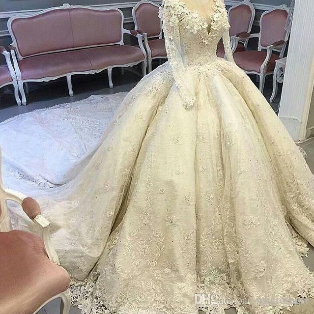Gorgeous Sheer Ball Gown Wedding Dresses 2017 Puffy Beaded: Luxury Lace Royal Wedding Dresses 2017 Ball Gown Sheer