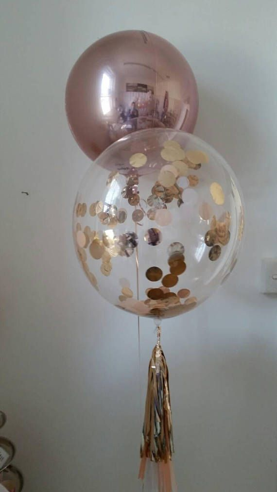 Rose Gold Clear Bubble Balloon with Tassels