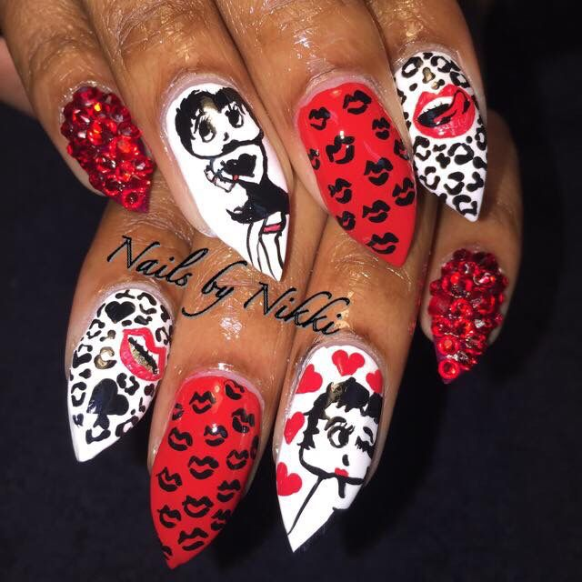 Stiletto Nails Betty Boop Nails Nikkis Nails Pinterest