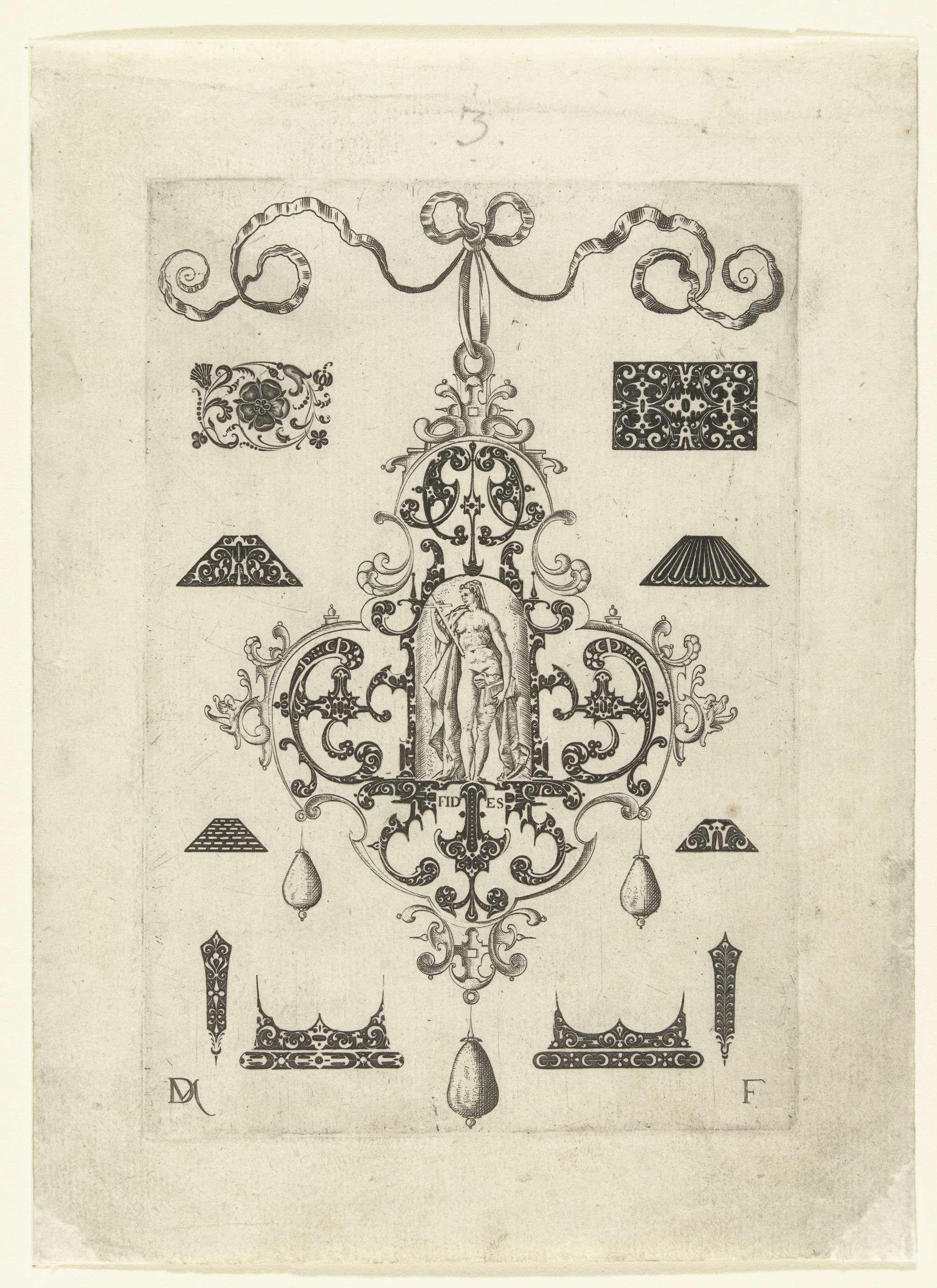 Daniel Mignot | Hanger met Fides, Daniel Mignot, c. 1500 - c. 1600 | Fides in een omlijsting van krulwerk. Blad uit serie van hangers met deugden, bestaande uit een titelblad en 7 bladen. Aan elke hanger hangen drie parels. Om de hangers heen zijn kleine kostuumsieraden weergegeven.