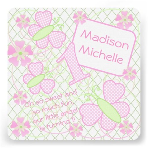 Pink | Lime Polka Dots Butterflies 1st Birthday Custom Announcements #1stbirthdayinvitations #butterflies #1yearold