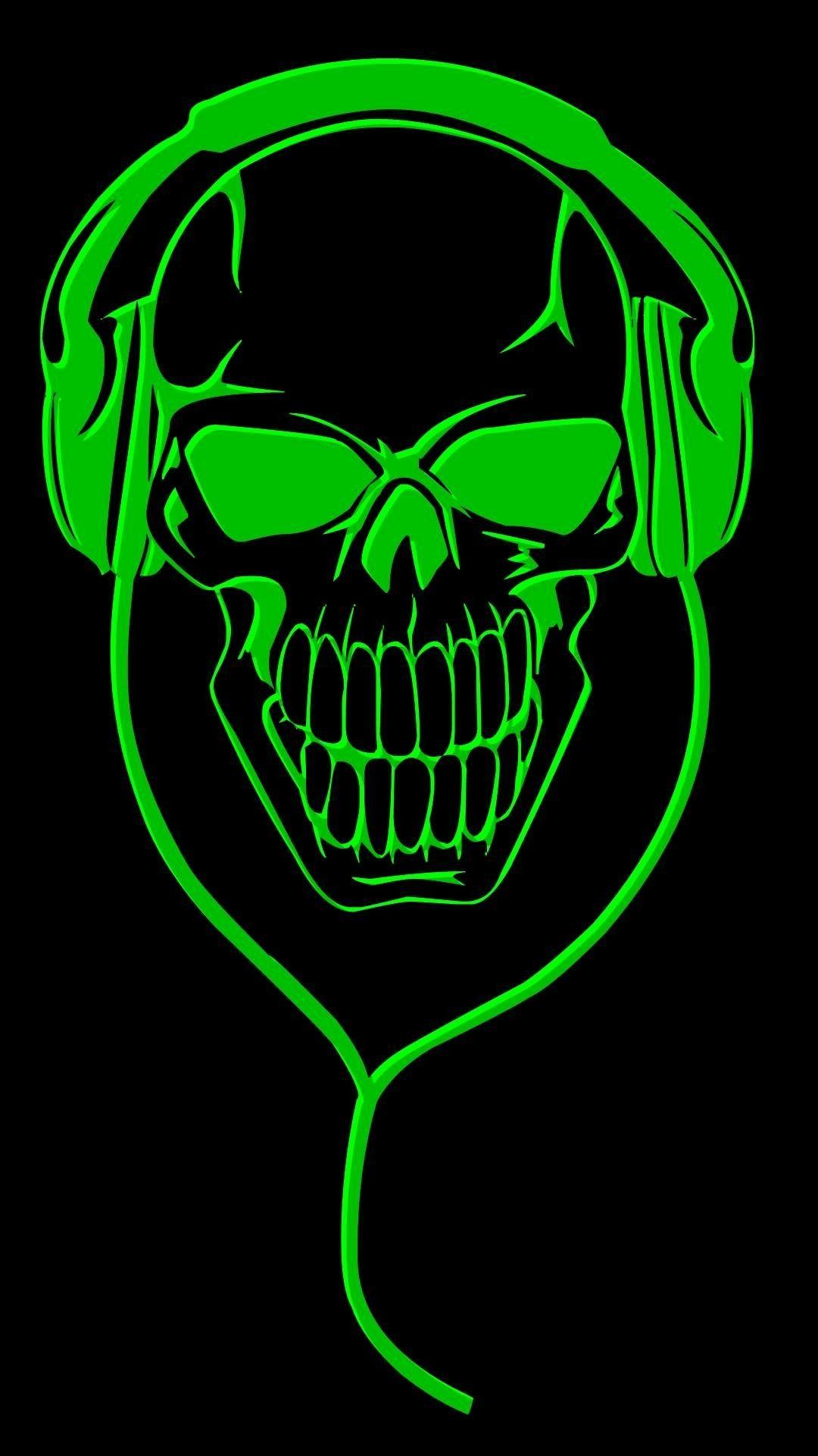 Green skull Skull design, Skeleton art, Print stickers