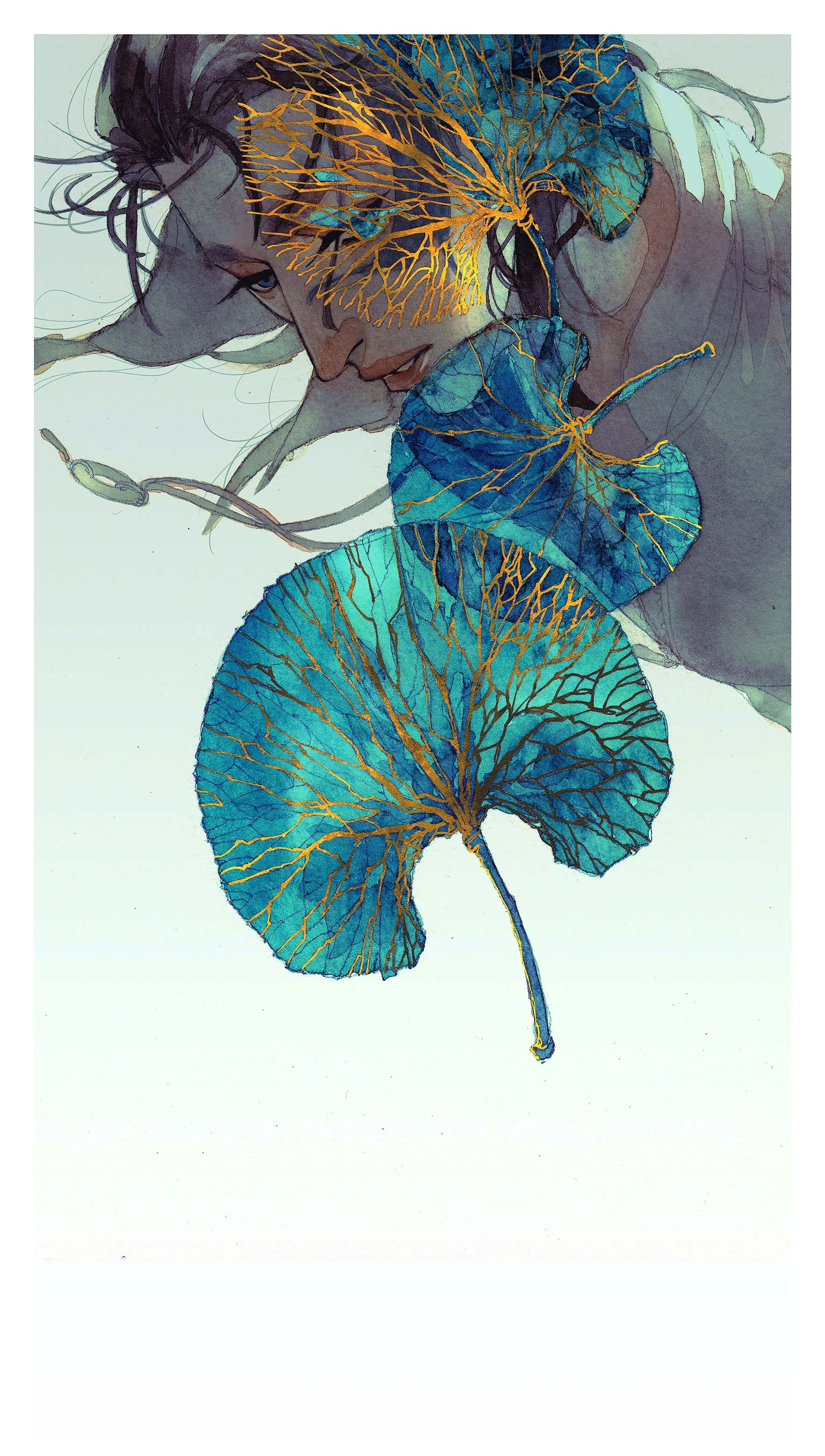 Leaf Veins Fabric Poster Art Illustration Art Painted Leaves