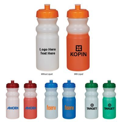 """Custom Imprinted 20 Oz Mood Bike Bottles: Available Colors: Frost to Blue, Frost to Green, Frost to Orange, Frost to Red all with matching lid Product Size: 8 ¼"""" H. Imprint Area: 3"""" W x 2 ½"""" H. Carton Weight: 24 lbs. Packaging: 100 pcs. Material:  BPA Free. Made In: USA. #custommoodbikebottle #promotionalproduct #customdrinkware #USA"""