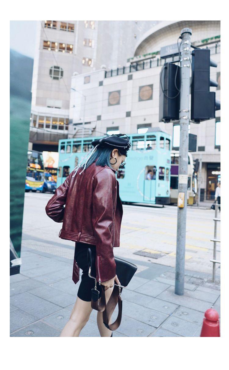 MEIYA 原創設計做舊酒紅色金屬拉鏈短款機車皮外套