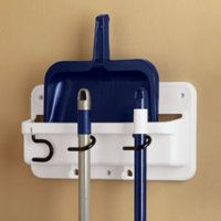 Rubbermaid Broom Holder With Storage For Dust Pan