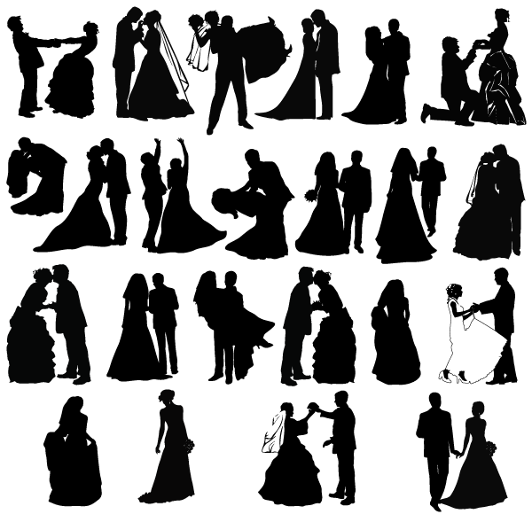 free wedding couple silhouette clip art - photo #33