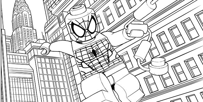 LEGO SPIDERMAN coloring sheet LEGO Coloring Sheets Pinterest