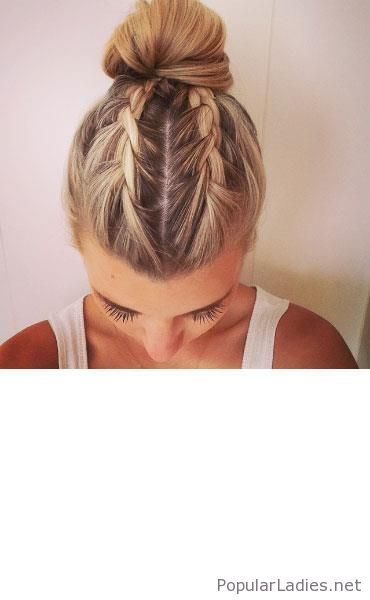 Two Little Braids And A High Bun With Images Hair Looks Hair