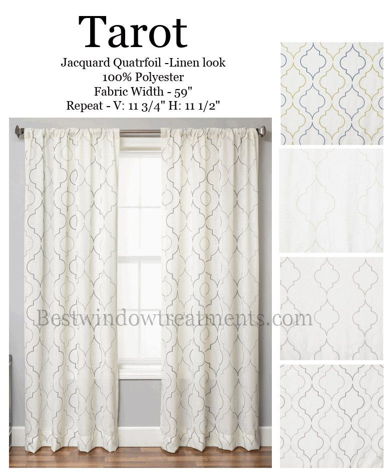 Tarot Curtain Panel In A Quatrefoil Design Available In 4 Colors