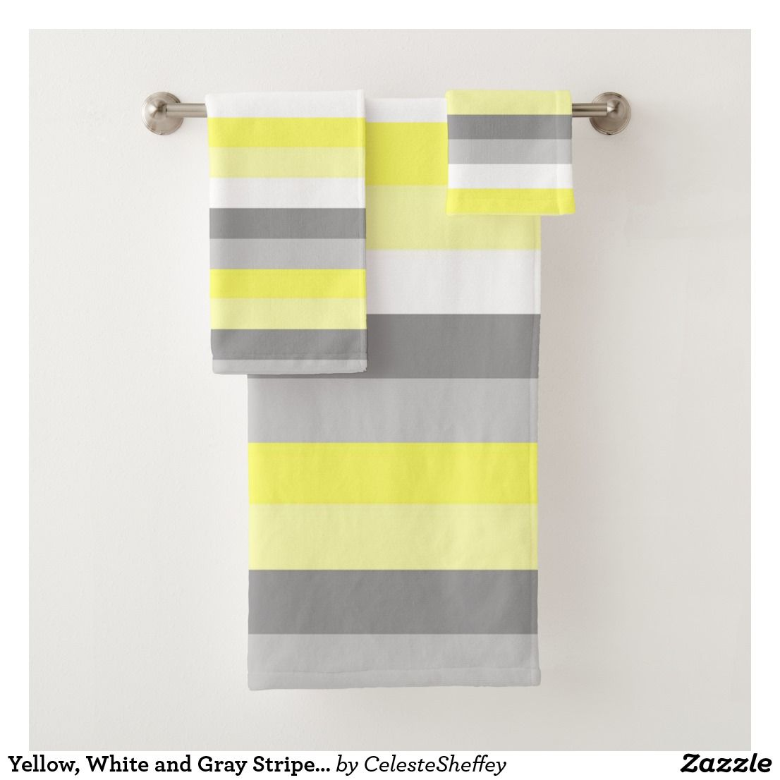 Yellow White And Gray Stripes Bath Towel Set Zazzle Com Striped Bath Towels Bath Towel Sets Gray And White Bathroom
