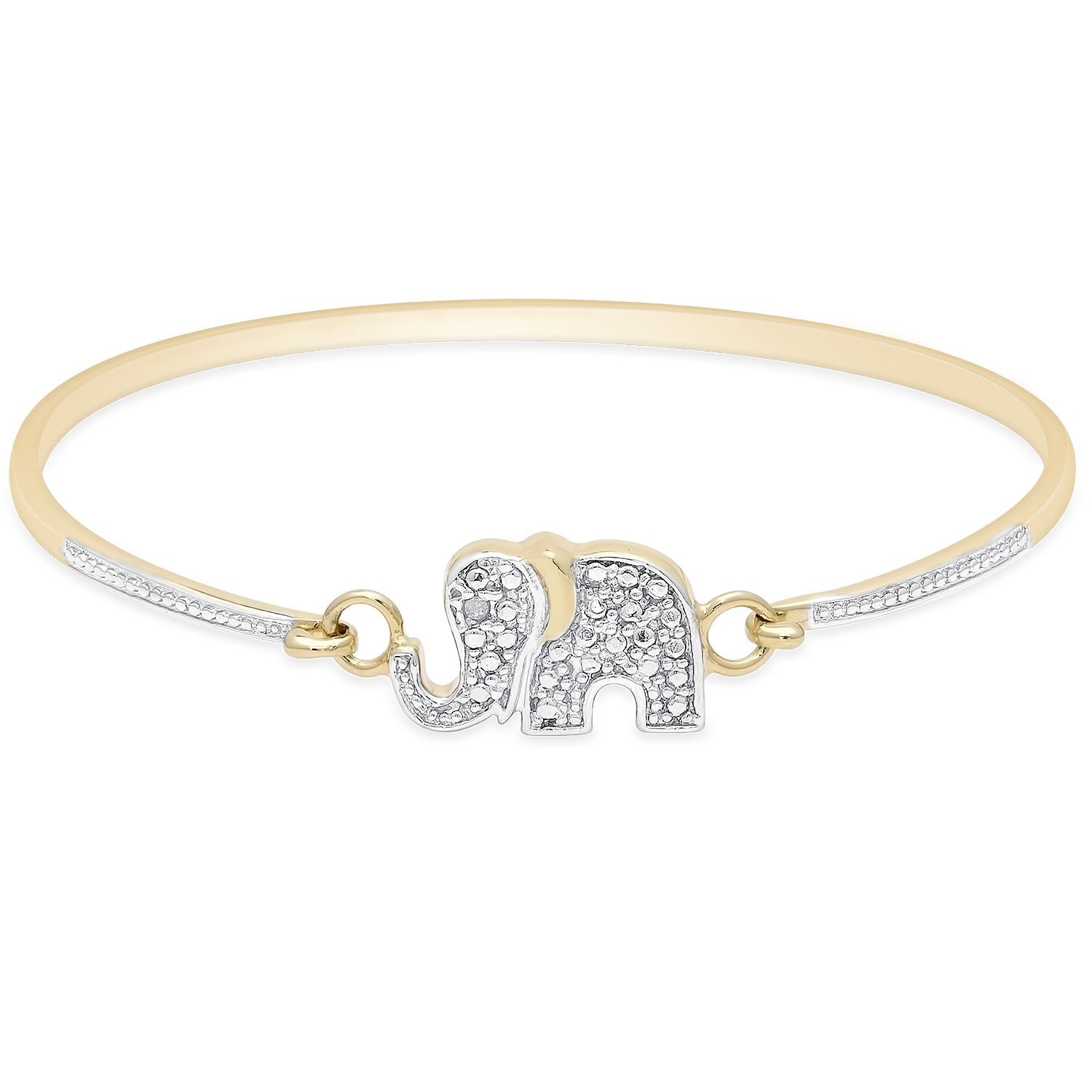 Finesque Gold Over Sterling Silver Diamond Accent Elephant Bangle (I-J, I2-I3) (OSB625), Two-Tone, Size 6.75 Inch