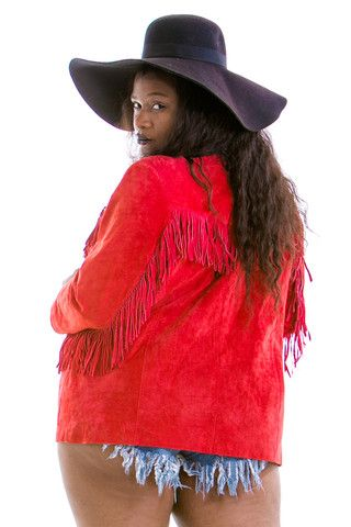 Vintage Red Leather Lady Fringe Jacket - L/XL/2X