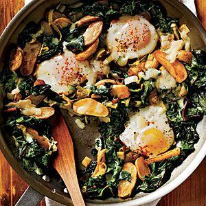 eggs, swiss chard, fingerling potato, and leeks | Our Favorite Breakfast