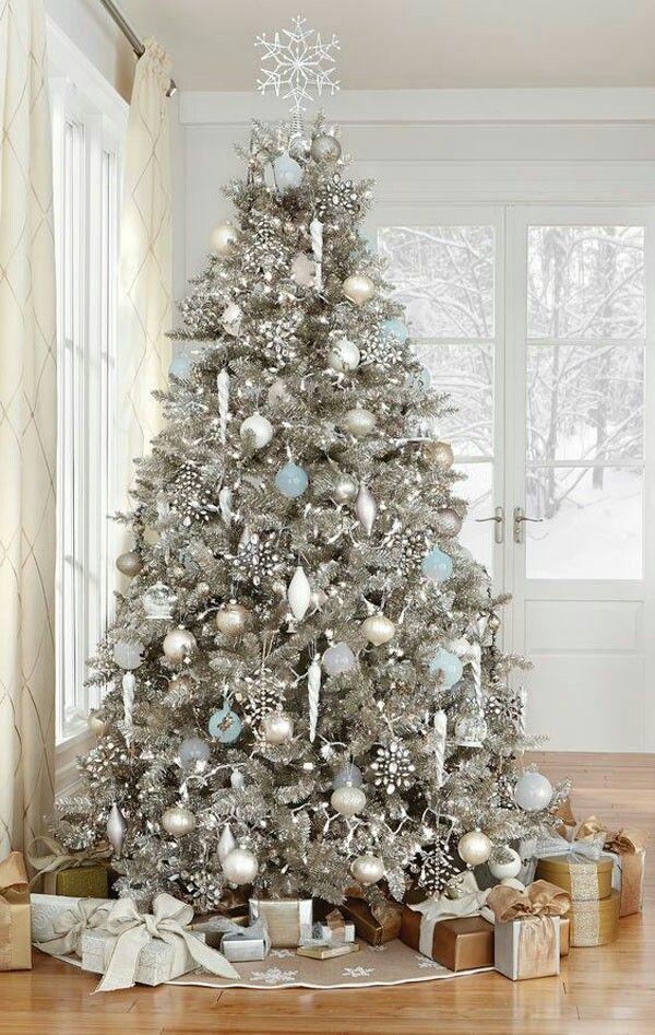 White silver tree Christmas Pinterest Christmas tree - blue and silver christmas decorationschristmas tree decorations