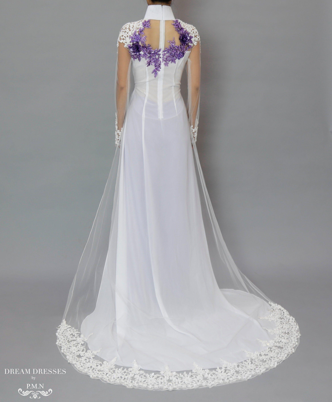 White and Purple Ao Dai | Beaded Lace Vietnamese Bridal Dress ...