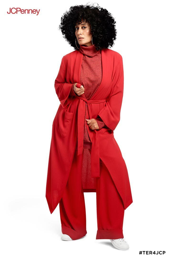 ce797bfab9 You ll be head-to-toe fabulous in this red-on-red-on-red look from Tracee  Ellis Ross for JCPenney. The knee-length robe jacket pairs with the  matching red ...