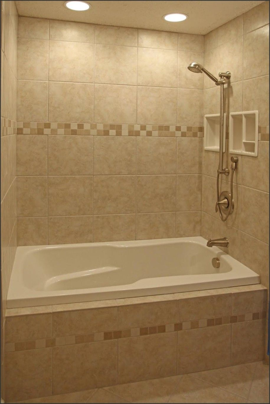 Small Bathroom With Alcove Bathtub Shower Combo And LimeStone Wall - Lighting ideas for small bathrooms