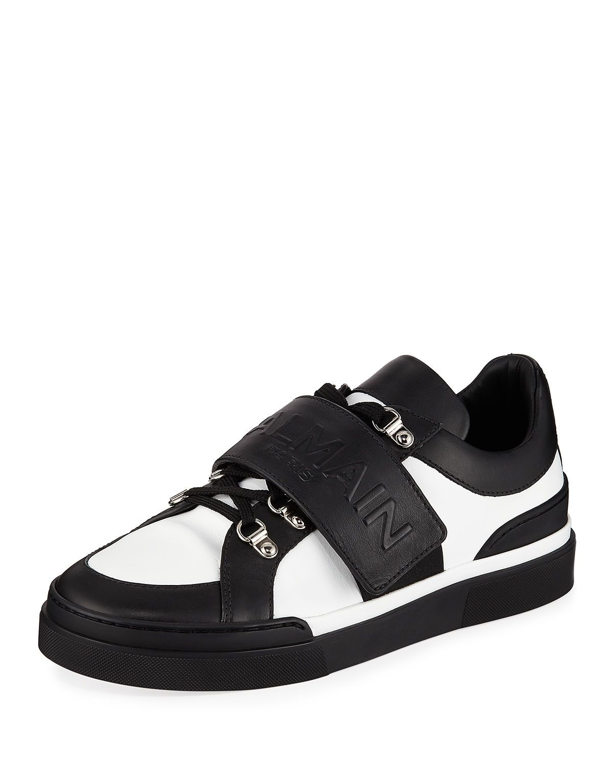 Men S Tricolor Low Top Leather Sneakers In Black Leather