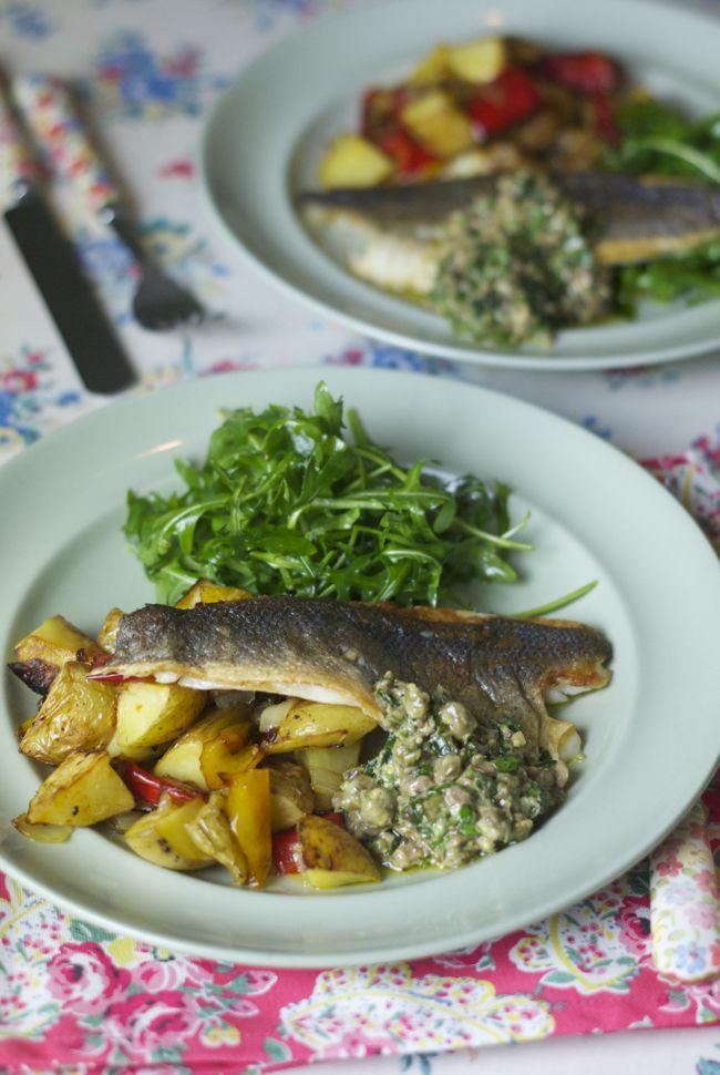 Sea bass with roast veg and salsa verde