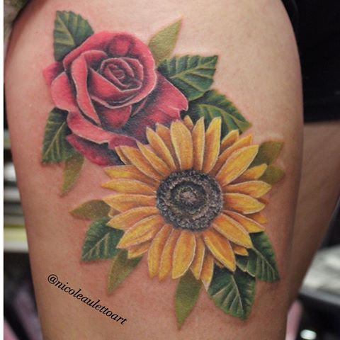 Image Result For Sunflower And Rose Tattoo Tattoo Ideas