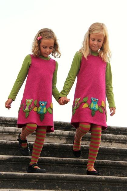 Kleid Eulen , Shirt grün langarm & Stipes green-pink Strumpfhose ...