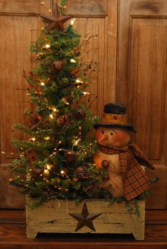 large handmade primitive snowman doll lighted winter tree wood box folk art naiveprimitive - Primitive Christmas Decor