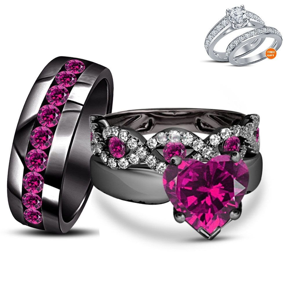 His Her Engagement Ring Trio Set Heart Shape Pink Sapphire Black