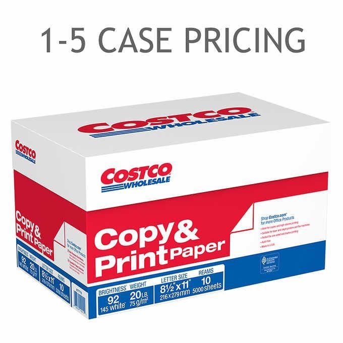 Costco Copy Paper Letter 20lb 92 Bright 5 000ct 1 5 Case Pricing Cs1 677771 Copy Paper Letter Paper Paper