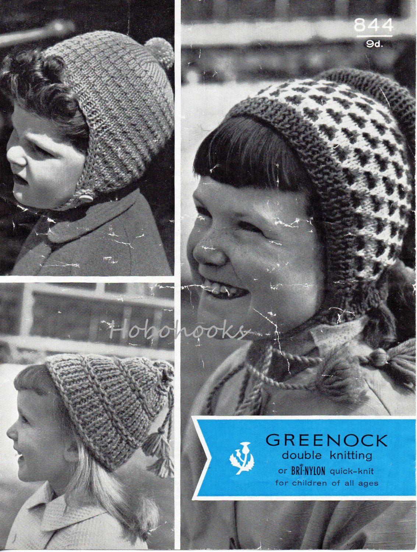 vintage childs childrens hats knitting pattern PDF dutch bonnet pom ...