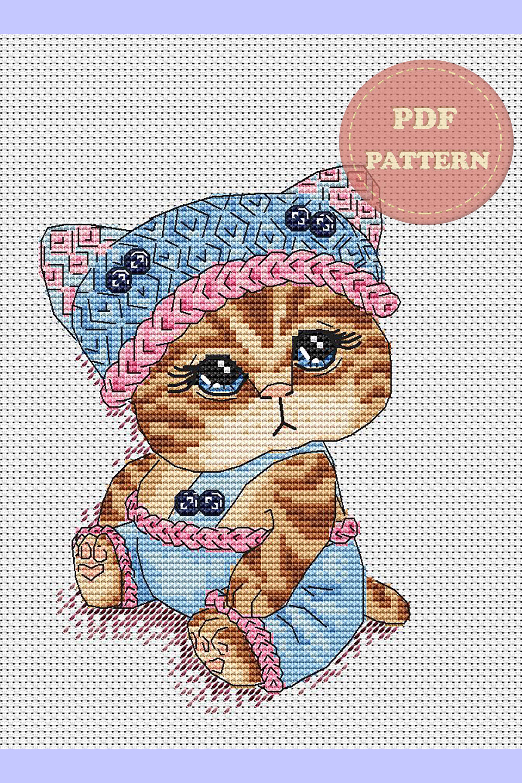 Cat cross stitch design Animals cross stitch Baby boy